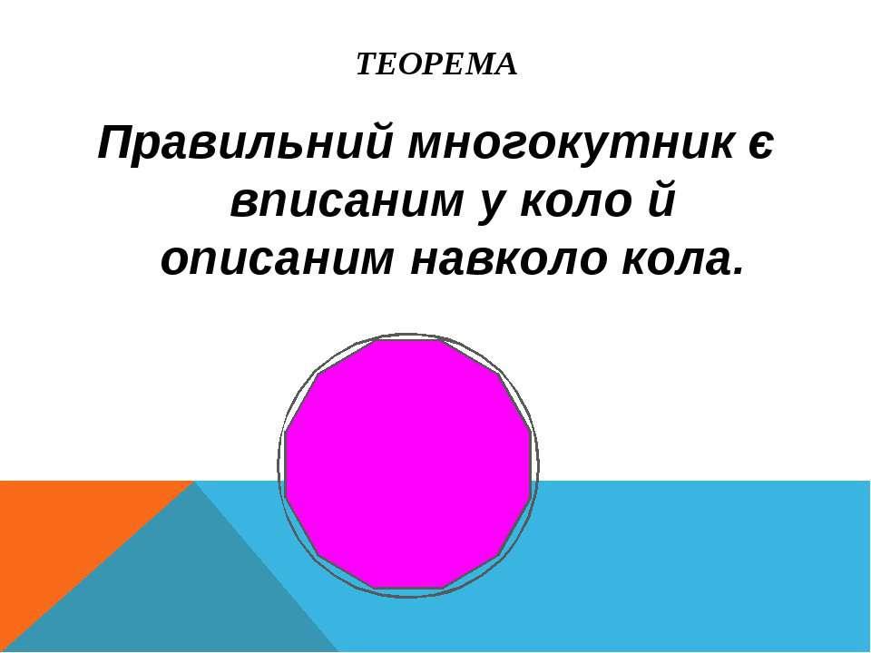 ТЕОРЕМА Правильний многокутник є вписаним у коло й описаним навколо кола.