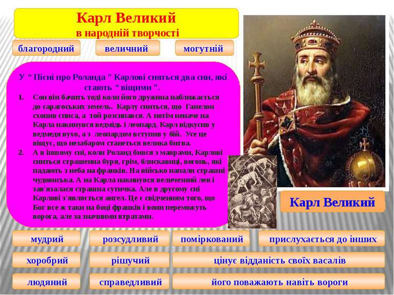 Карл Великий Карл Великий в народній творчості благородний величний могутній ...