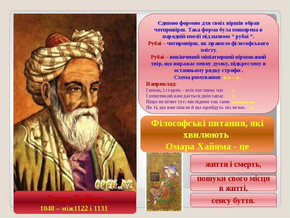 Омар Хайям 1048 – між1122 і 1131 Єдиною формою для своїх віршів обрав чотирив...