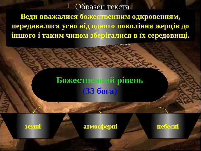 Веди вважалися божественним одкровенням, передавалися усно від одного поколін...