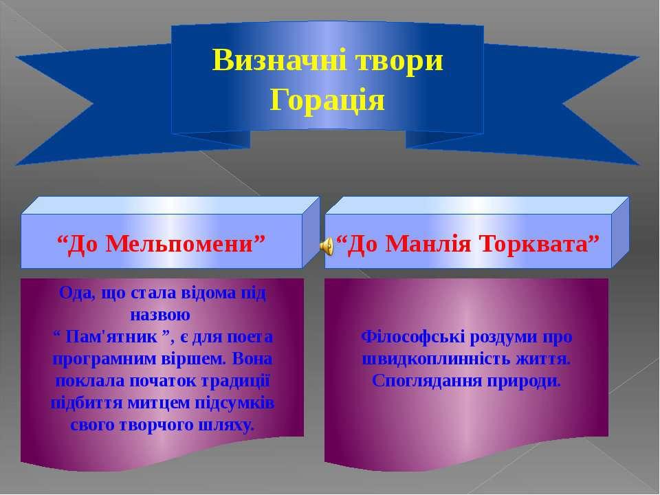 """Визначні твори Горація """"До Мельпомени"""" """"До Манлія Торквата"""" Ода, що стала від..."""