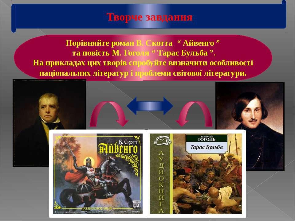 """Творче завдання Порівняйте роман В. Скотта """" Айвенго """" та повість М. Гоголя """"..."""