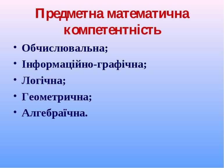 Предметна математична компетентність Обчислювальна; Інформаційно-графічна; Ло...