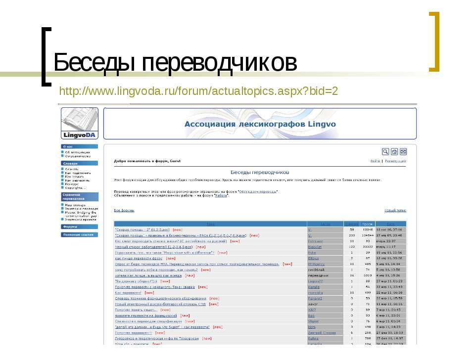 Беседы переводчиков http://www.lingvoda.ru/forum/actualtopics.aspx?bid=2