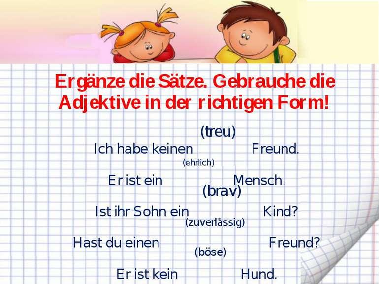 Ergänze die Sätze. Gebrauche die Adjektive in der richtigen Form! Ich habe ke...