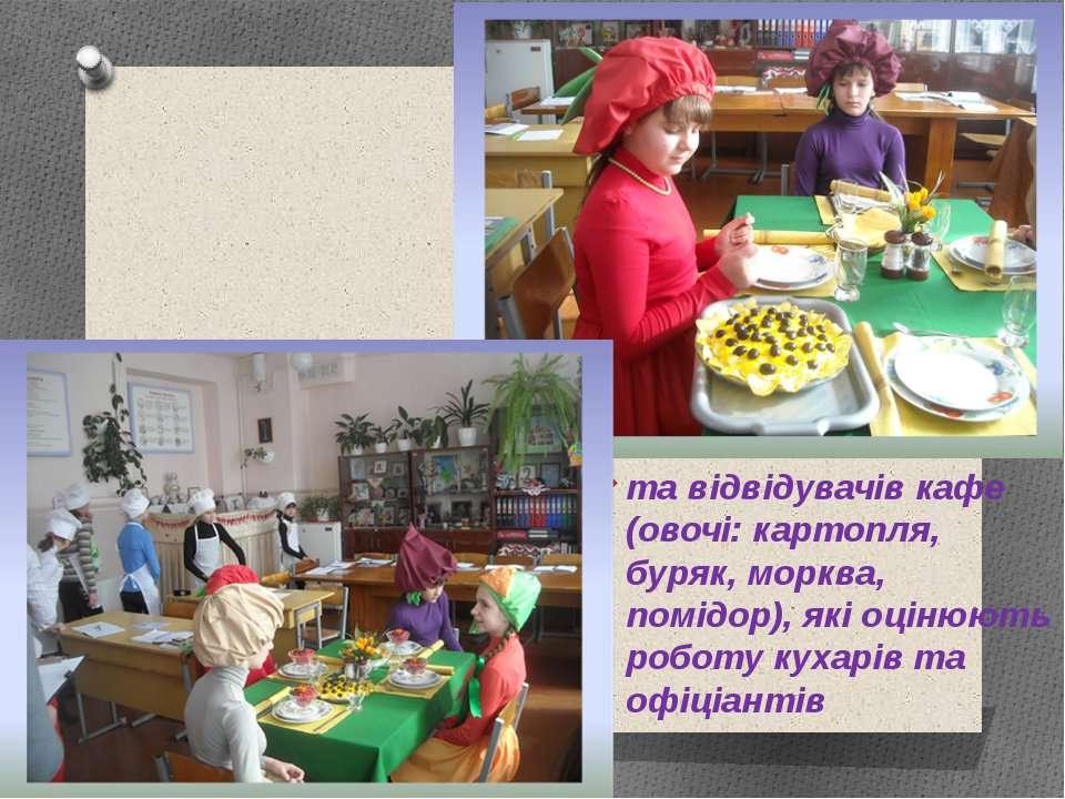 та відвідувачів кафе (овочі: картопля, буряк, морква, помідор), які оцінюють ...