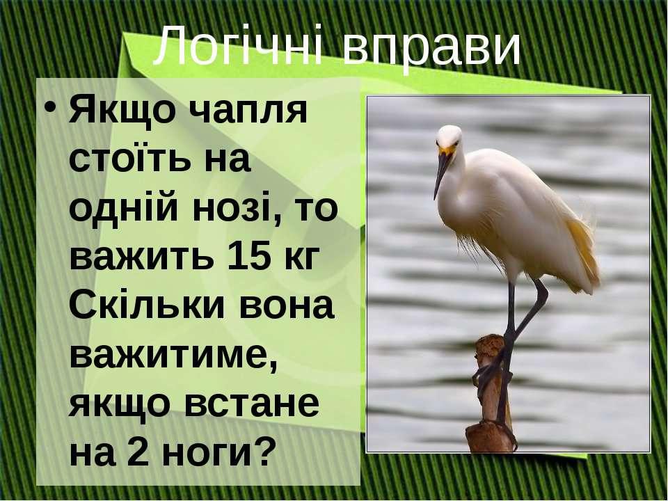 Якщо чапля стоїть на одній нозі, то важить 15 кг Скільки вона важитиме, якщо ...