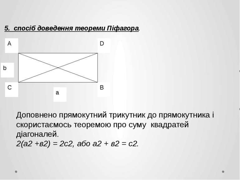 5. спосіб доведення теореми Піфагора. Доповнено прямокутний трикутник до прям...