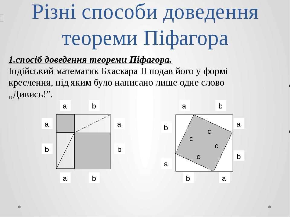 Різні способи доведення теореми Піфагора 1.спосіб доведення теореми Піфагора....