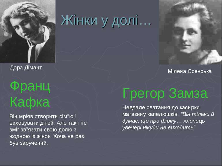 """Жінки у долі… Мілена Єсенська Дора Дімант Франц Кафка Він мріяв створити сім""""..."""