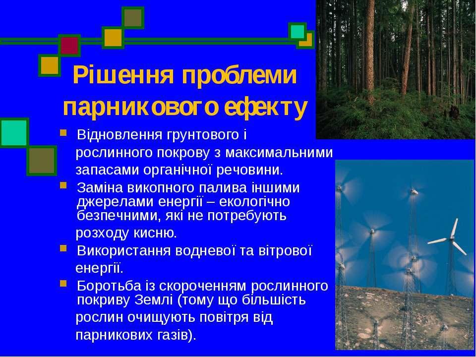 Рішення проблеми парникового ефекту Відновлення грунтового і рослинного покро...