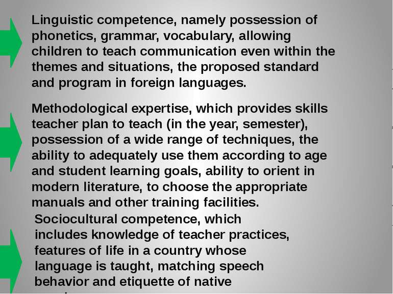 Linguistic competence, namely possession of phonetics, grammar, vocabulary, a...
