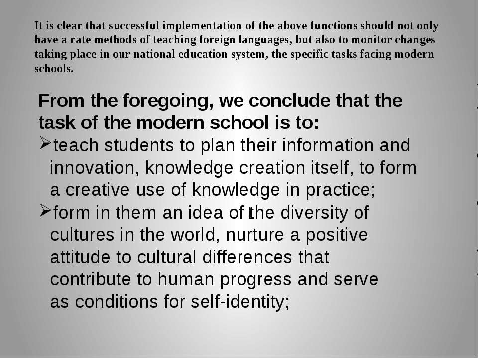 It is clear that successful implementation of the above functions should not ...
