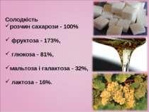 Солодкість розчин сахарози - 100% фруктоза - 173%, глюкоза - 81%, мальтоза і ...