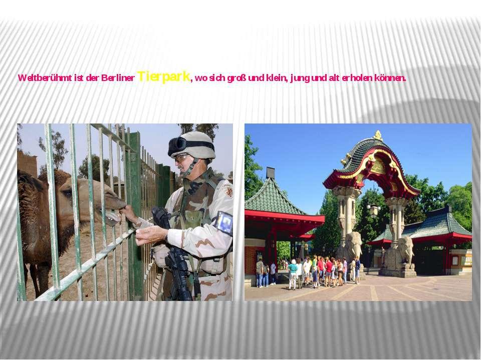 Weltberühmt ist der Berliner Tierpark, wo sich groß und klein, jung und alt e...