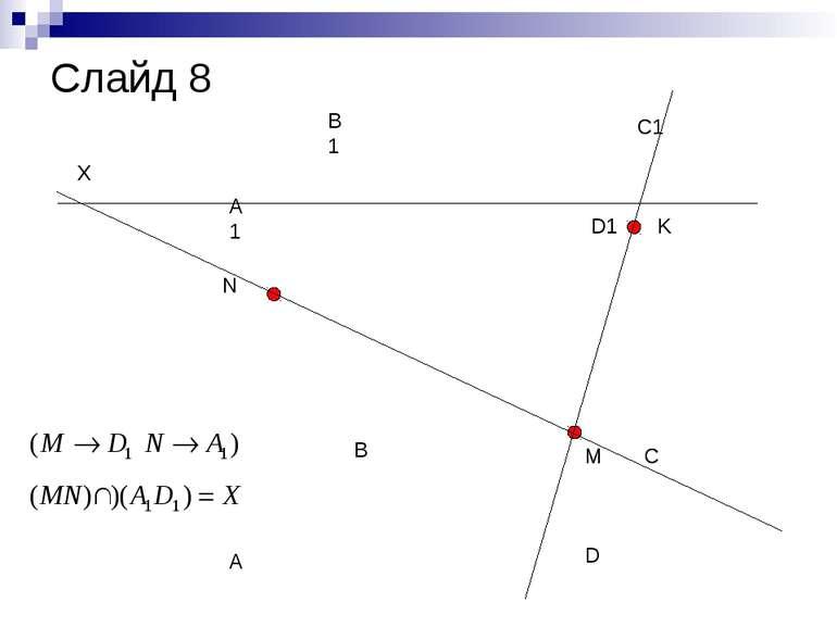 A B C D A1 B1 C1 D1 N M K X Слайд 8
