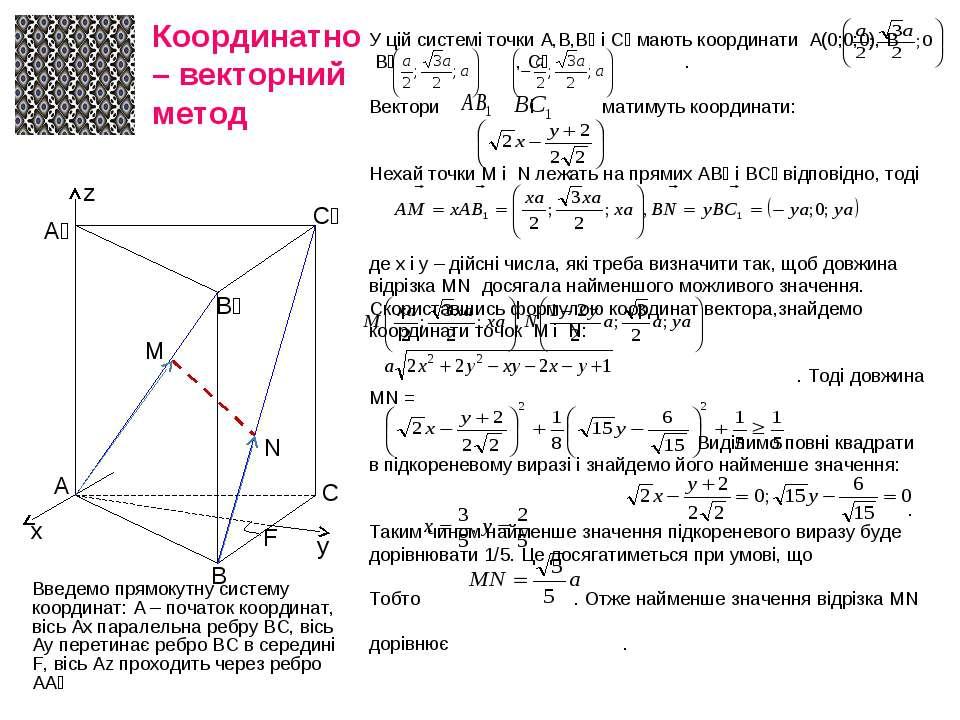 Координатно – векторний метод Введемо прямокутну систему координат: А – почат...
