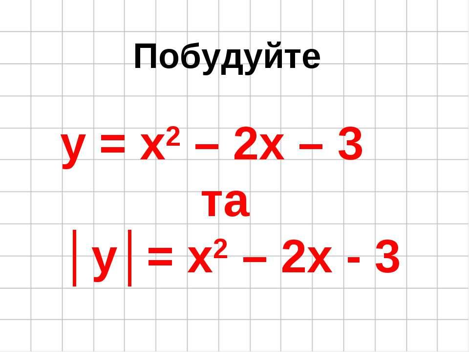 Побудуйте y = x2 – 2x – 3 та │y│= x2 – 2x - 3