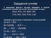 Завдання учням З наведених формул оксидів випишіть в окремі стовпчики основні...