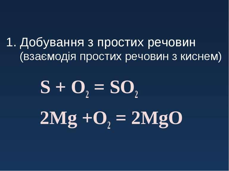 1. Добування з простих речовин (взаємодія простих речовин з киснем) S + O2 = ...