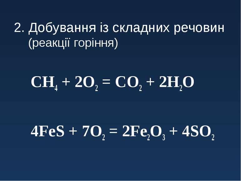 2. Добування із складних речовин (реакції горіння) СH4 + 2O2 = CO2 + 2H2O 4Fe...