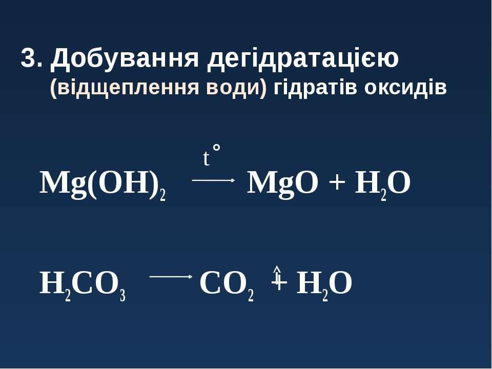3. Добування дегідратацією (відщеплення води) гідратів оксидів Mg(OH)2 MgO + ...