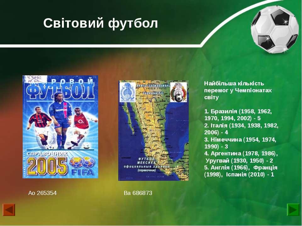 Світовий футбол Найбільша кількість перемог у Чемпіонатах світу 1. Бразилія (...