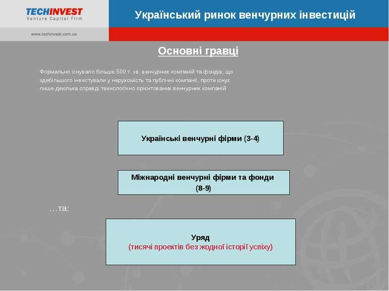 Основні гравці Український ринок венчурних інвестицій Українські венчурні фір...