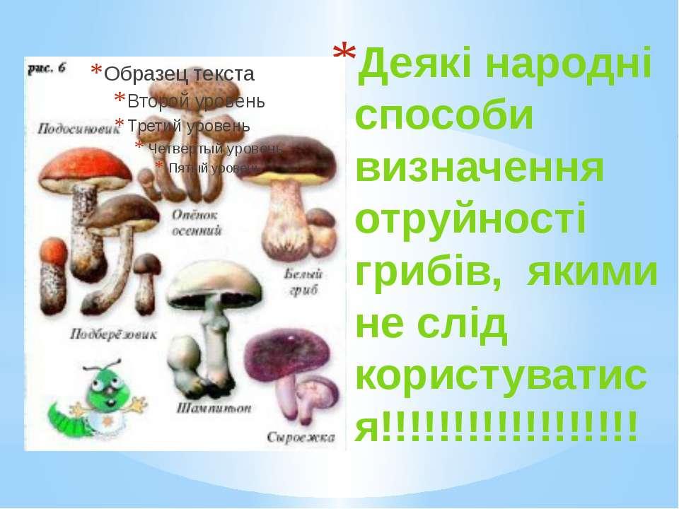 Деякі народні способи визначення отруйності грибів, якими не слід користуват...