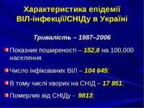 Характеристика епідемії ВІЛ-інфекції/СНІДу в Україні Тривалість – 1987–2006 П...