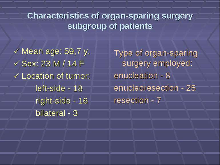 Characteristics of organ-sparing surgery subgroup of patients Mean age: 59,7 ...