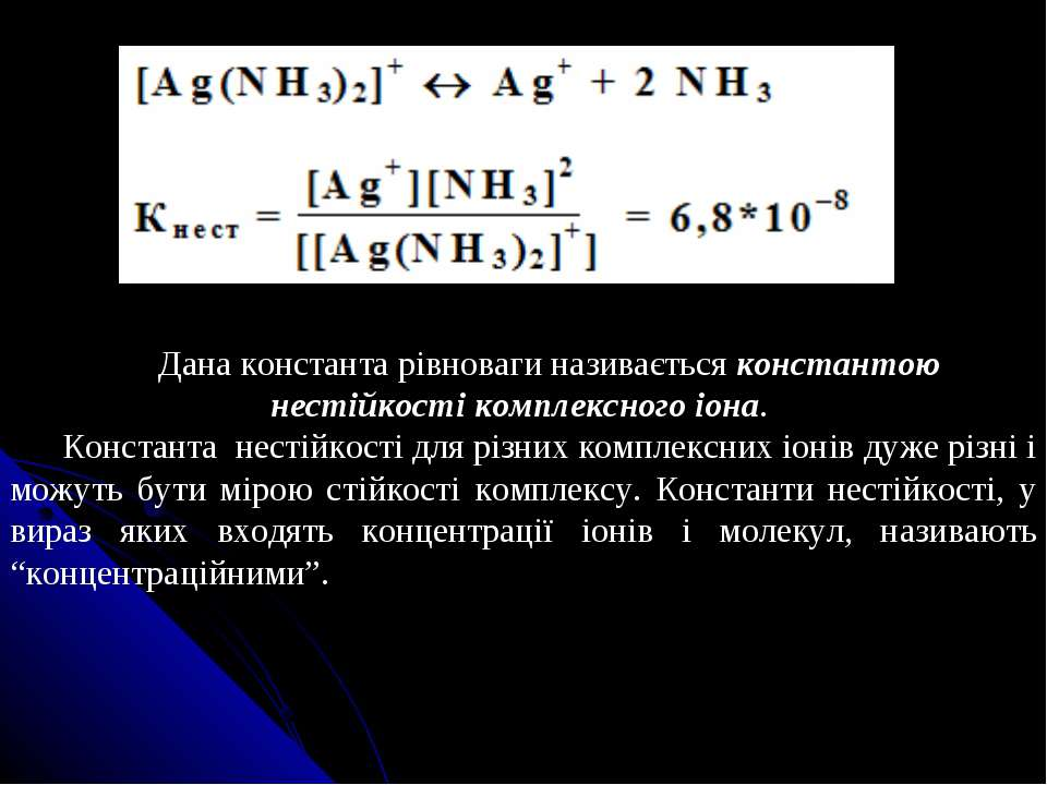 Дана константа рівноваги називається константою нестійкості комплексного іона...