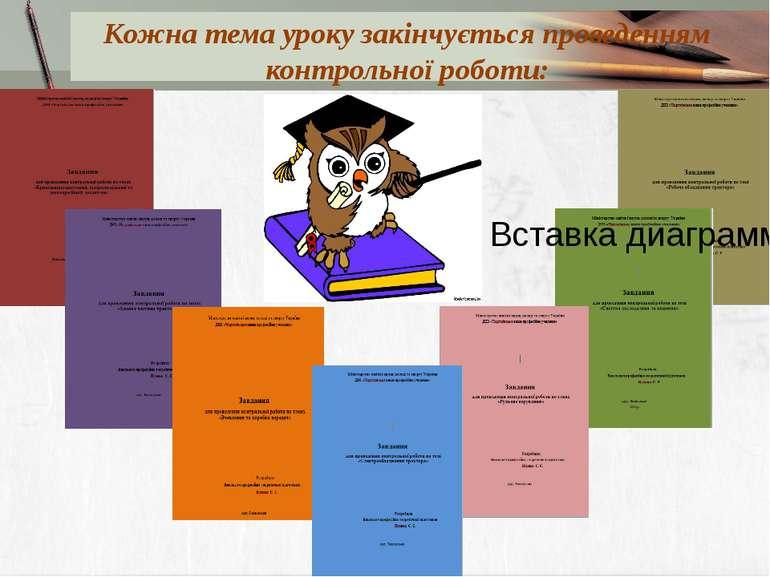 Кожна тема уроку закінчується проведенням контрольної роботи: