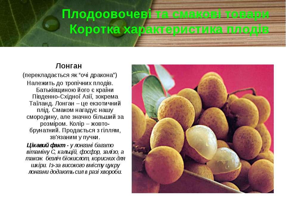 Плодоовочеві та смакові товари Коротка характеристика плодів Лонган (переклад...