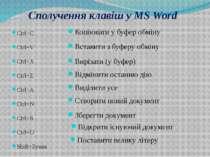 Сполучення клавіш у MS Word Ctrl+C Ctrl+V Ctrl+X Ctrl+Z Ctrl+A Ctrl+N Ctrl+S ...