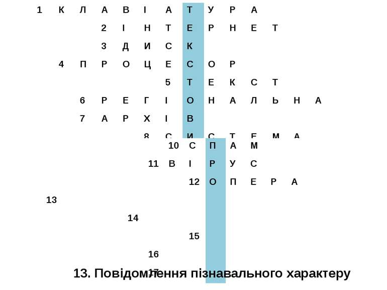 13. Повідомлення пізнавального характеру 1 К Л А В І А Т У Р А 2 І Н Т Е Р Н ...