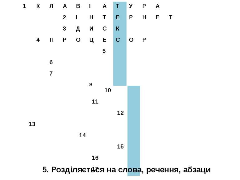5. Розділяється на слова, речення, абзаци 1 К Л А В І А Т У Р А 2 І Н Т Е Р Н...