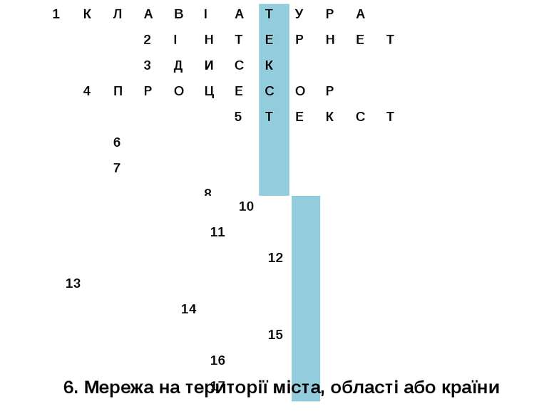 6. Мережа на території міста, області або країни 1 К Л А В І А Т У Р А 2 І Н ...