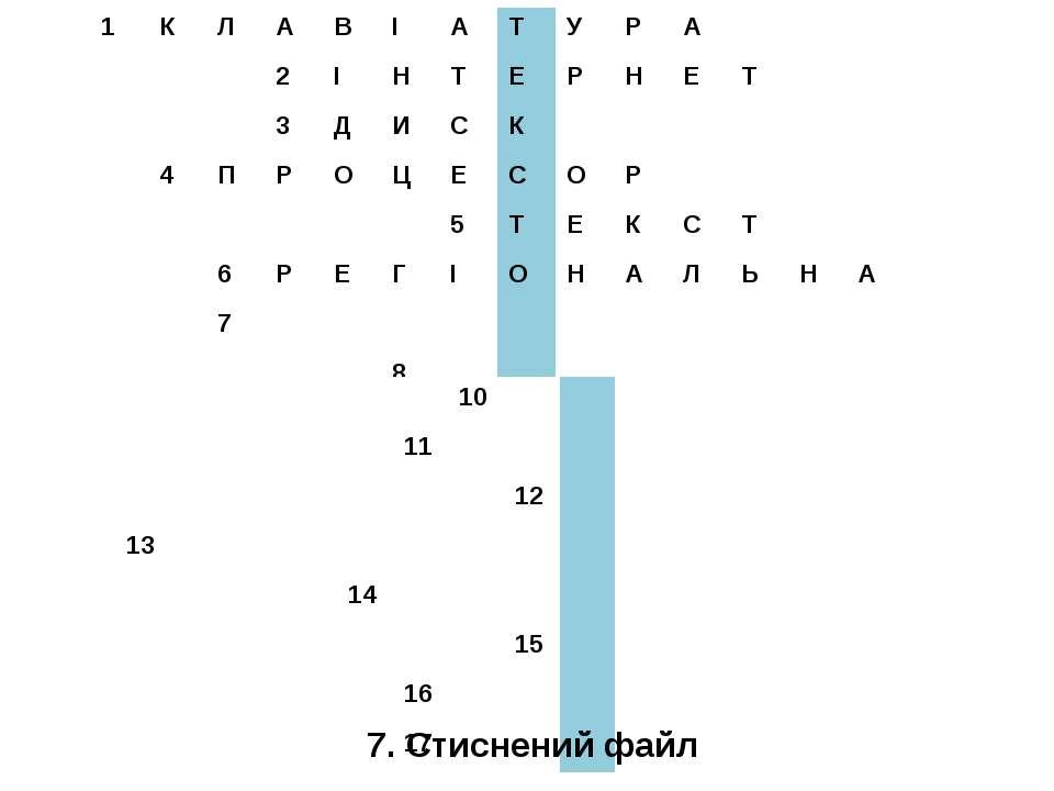 7. Стиснений файл 1 К Л А В І А Т У Р А 2 І Н Т Е Р Н Е Т 3 Д И С К 4 П Р О Ц...