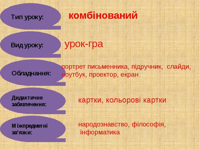 Тип уроку: комбінований Вид уроку: урок-гра Обладнання: портрет письменника, ...