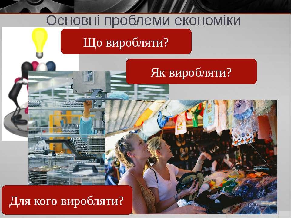 Основні проблеми економіки Що виробляти? Як виробляти? Для кого виробляти?