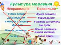 Неправильно Правильно Культура мовлення У двох словах Другим разом 6 метрів у...