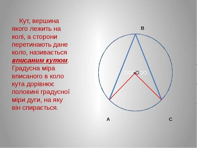 В А С Кут, вершина якого лежить на колі, а сторони перетинають дане коло, наз...