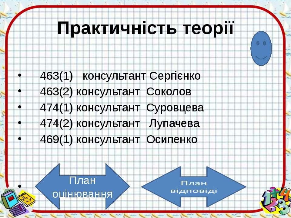 Пояснення Використання теоретичних знань Я би зробив так……. оцінка Сергієнк...