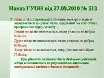 Наказ ГУОН від 27.09.2010 № 513 Нове. п. 4.5. Переможці І, ІІ етапів конкурсу...