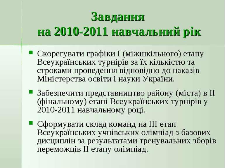 Завдання на 2010-2011 навчальний рік Скорегувати графіки І (міжшкільного) ета...