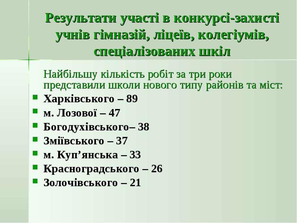 Результати участі в конкурсі-захисті учнів гімназій, ліцеїв, колегіумів, спец...