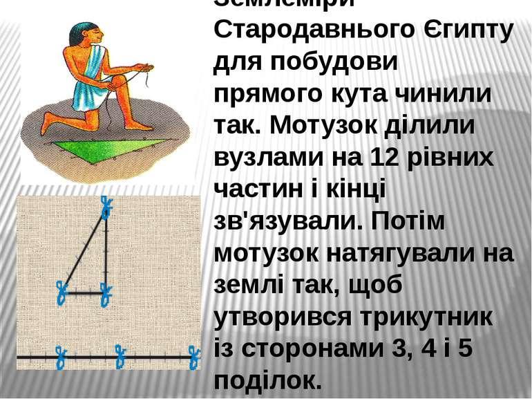 Землеміри Стародавнього Єгипту для побудови прямого кута чинили так. Мотузок ...
