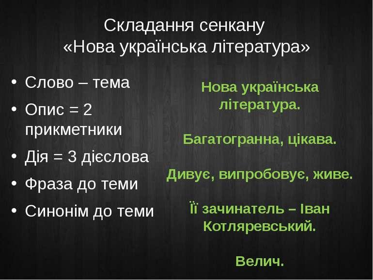 Складання сенкану «Нова українська література» Слово – тема Опис = 2 прикметн...