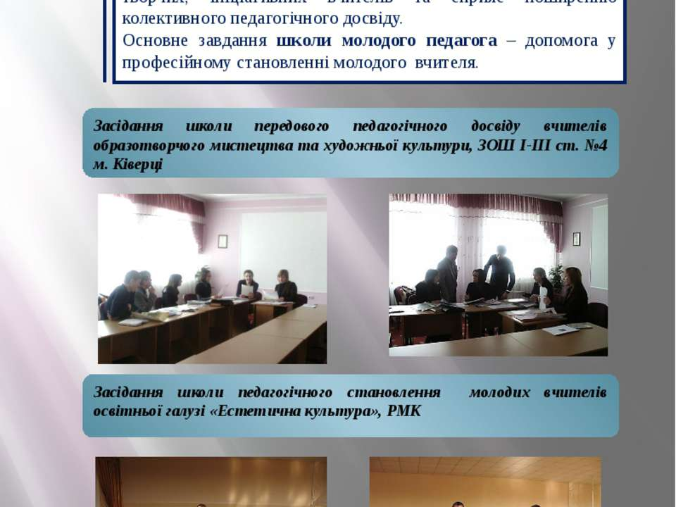 Впровадження ППД, робота з молодими Засідання школи передового педагогічного ...